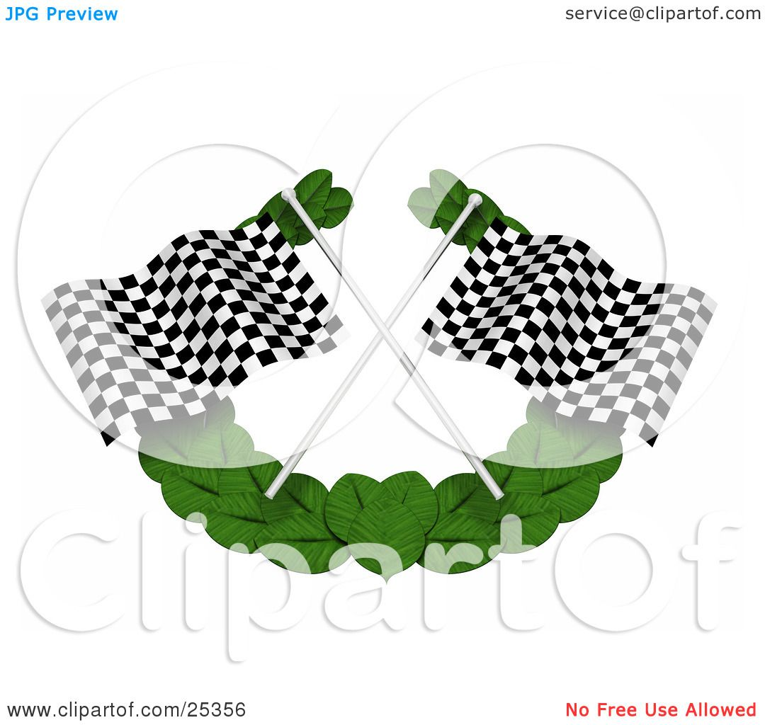 clipart illustration of two black and white checkered racing flags