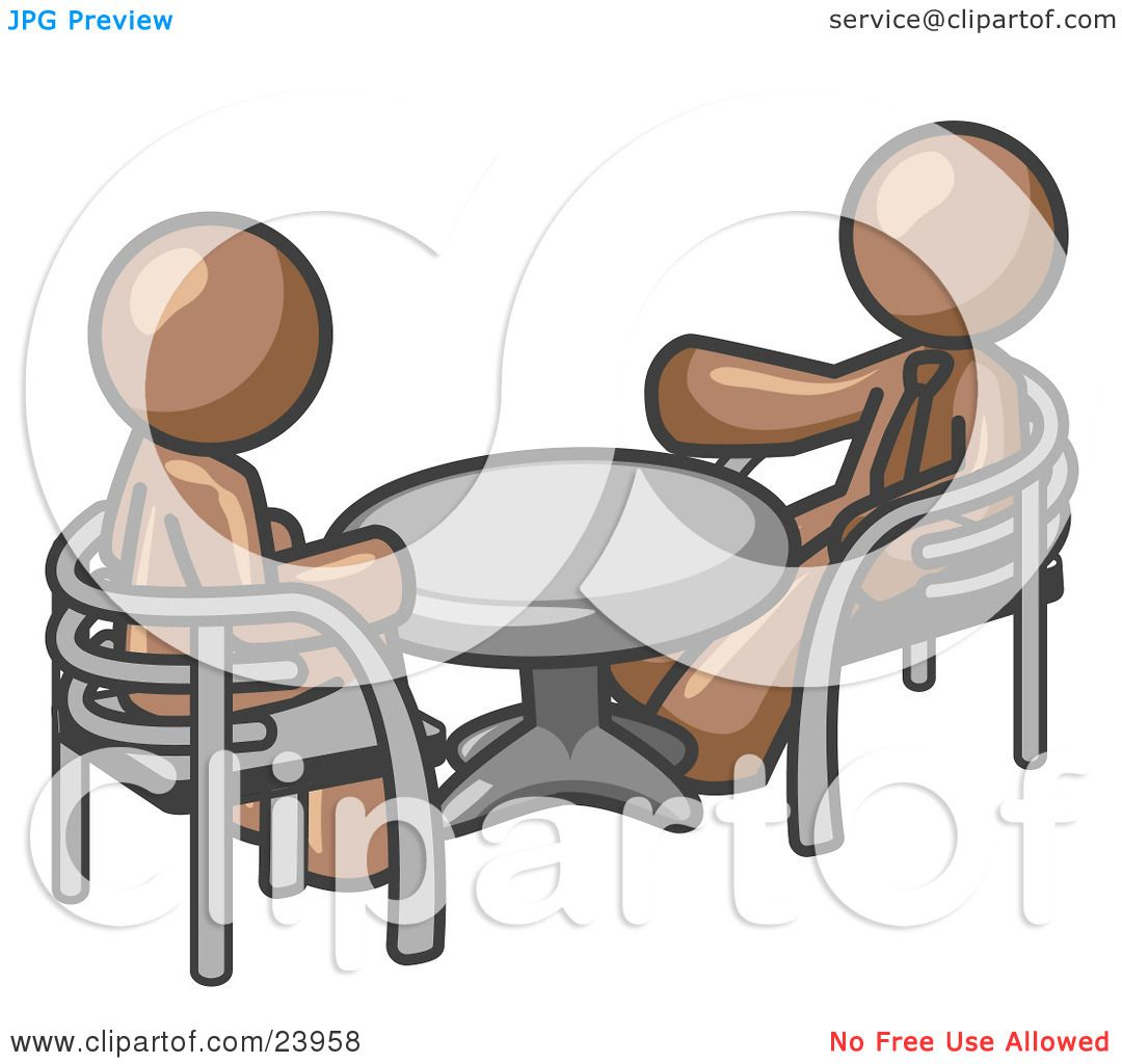 Clipart Illustration Of Two Brown Business Men Sitting