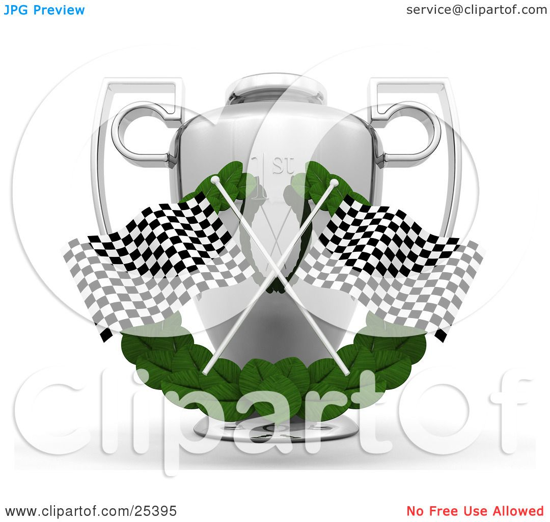 clipart illustration of two checkered racing flags crossed over a