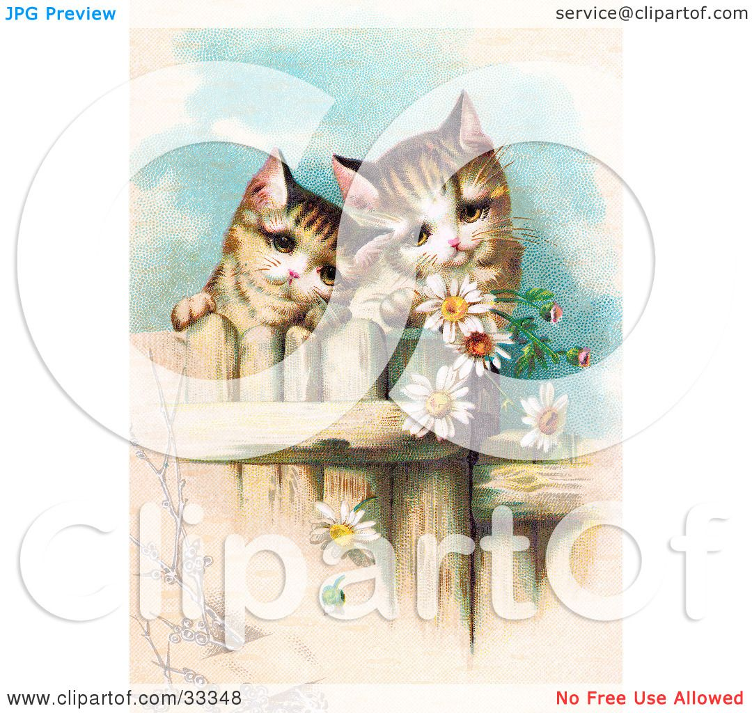 Clipart Illustration Of Two Curious Victorian Kittens