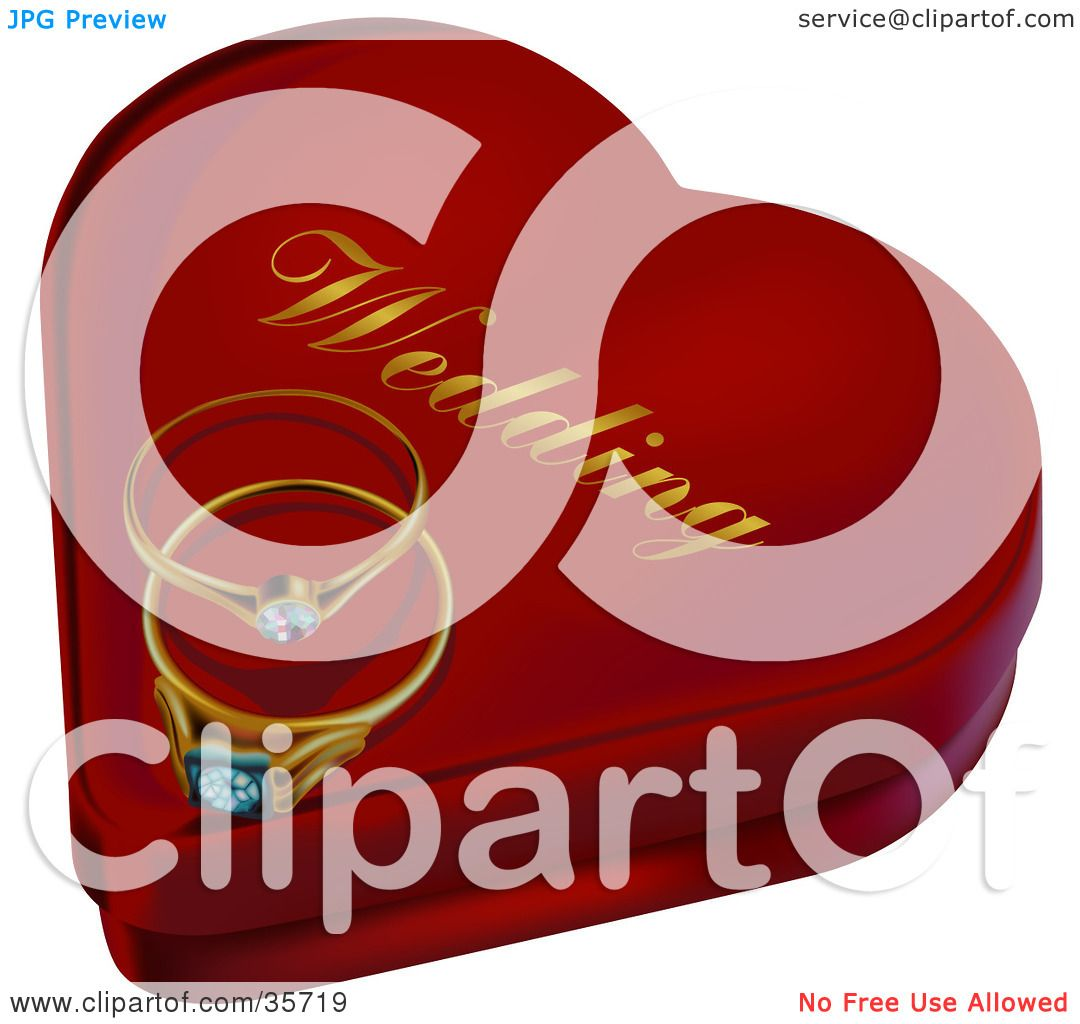 Clipart Illustration of Two Diamond Wedding Rings Resting On A Heart ...