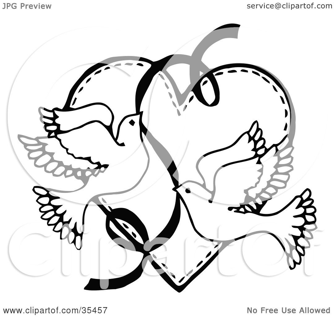 Clipart Illustration of Two Flying Doves With A Ribbon Over A Heart by ...