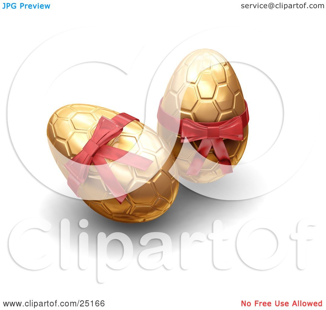 Clipart Illustration Of Two Golden Patterned Easter Eggs With Red Bows By KJ Pargeter