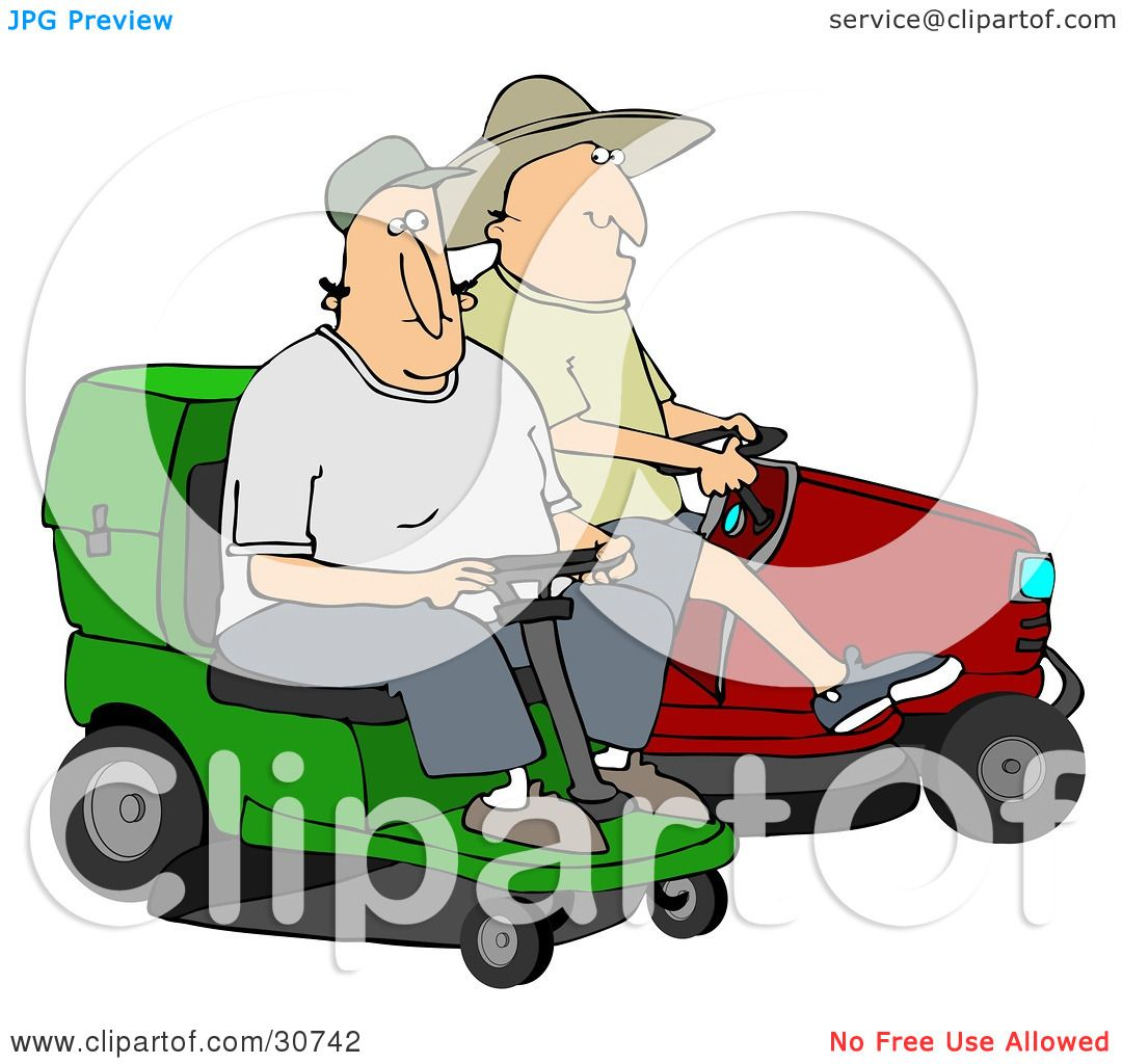Riding Lawn Mower Illustration And Red Riding Lawn Mowers