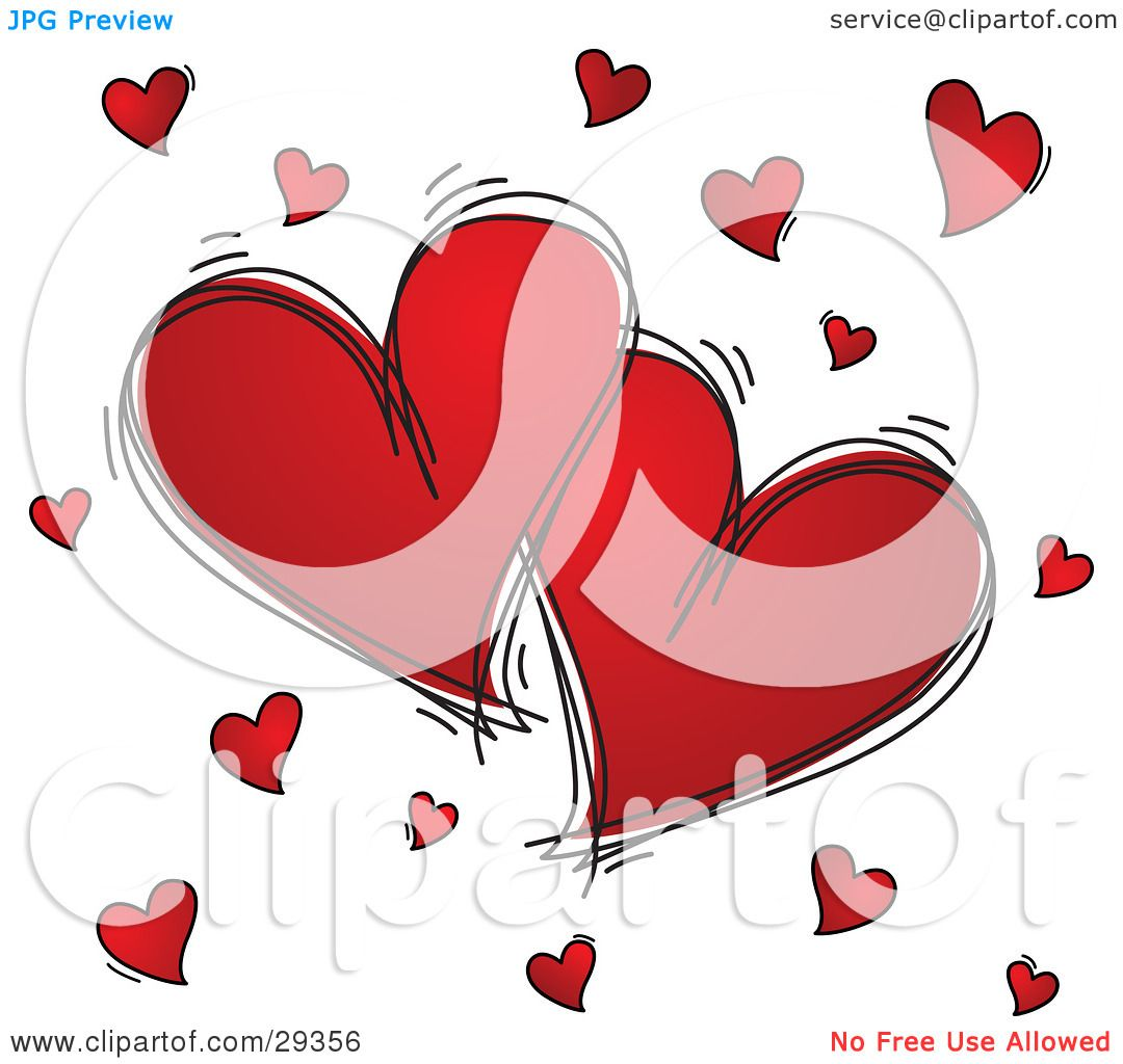 Clipart Illustration of Two Large Red Hearts Outlined In ...