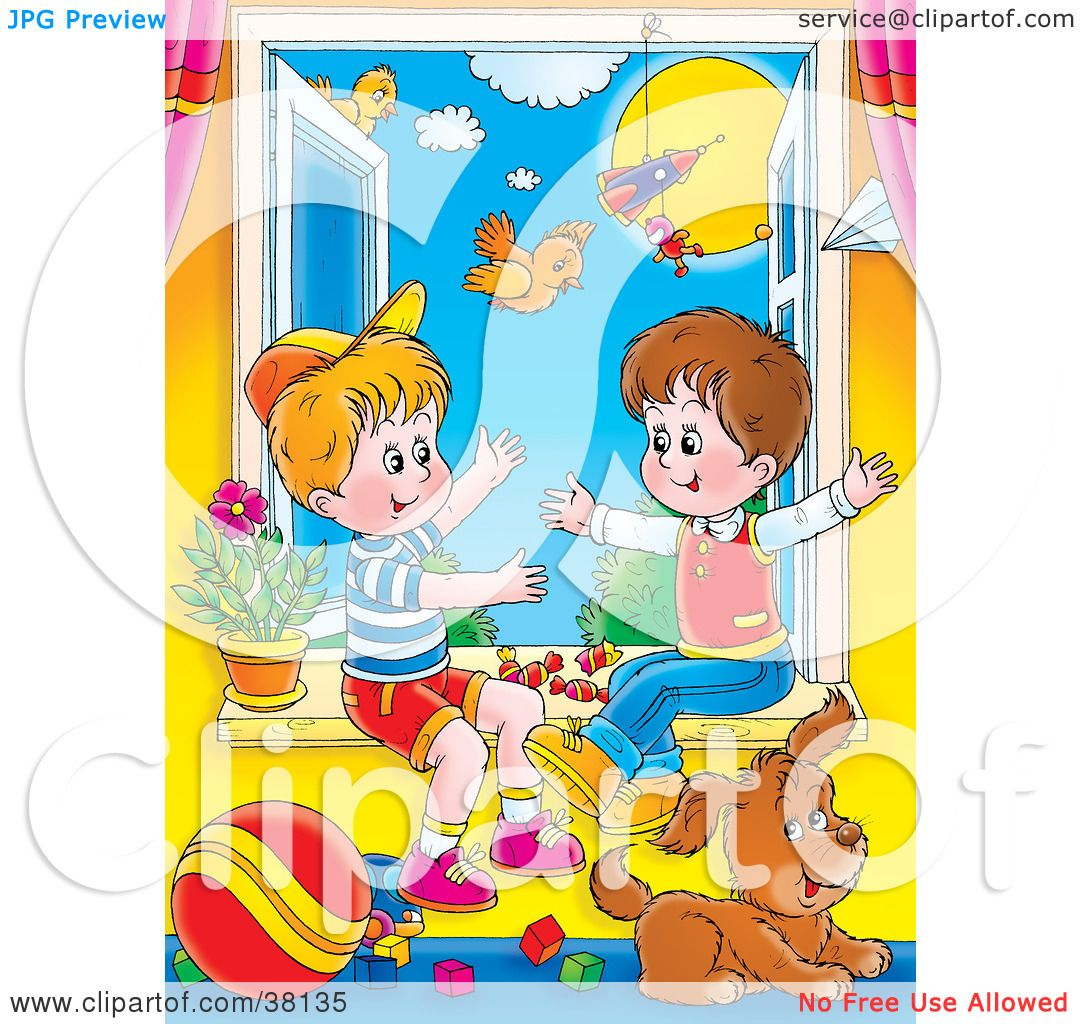 Clipart Illustration Of Two Little Boys Playing In An Open