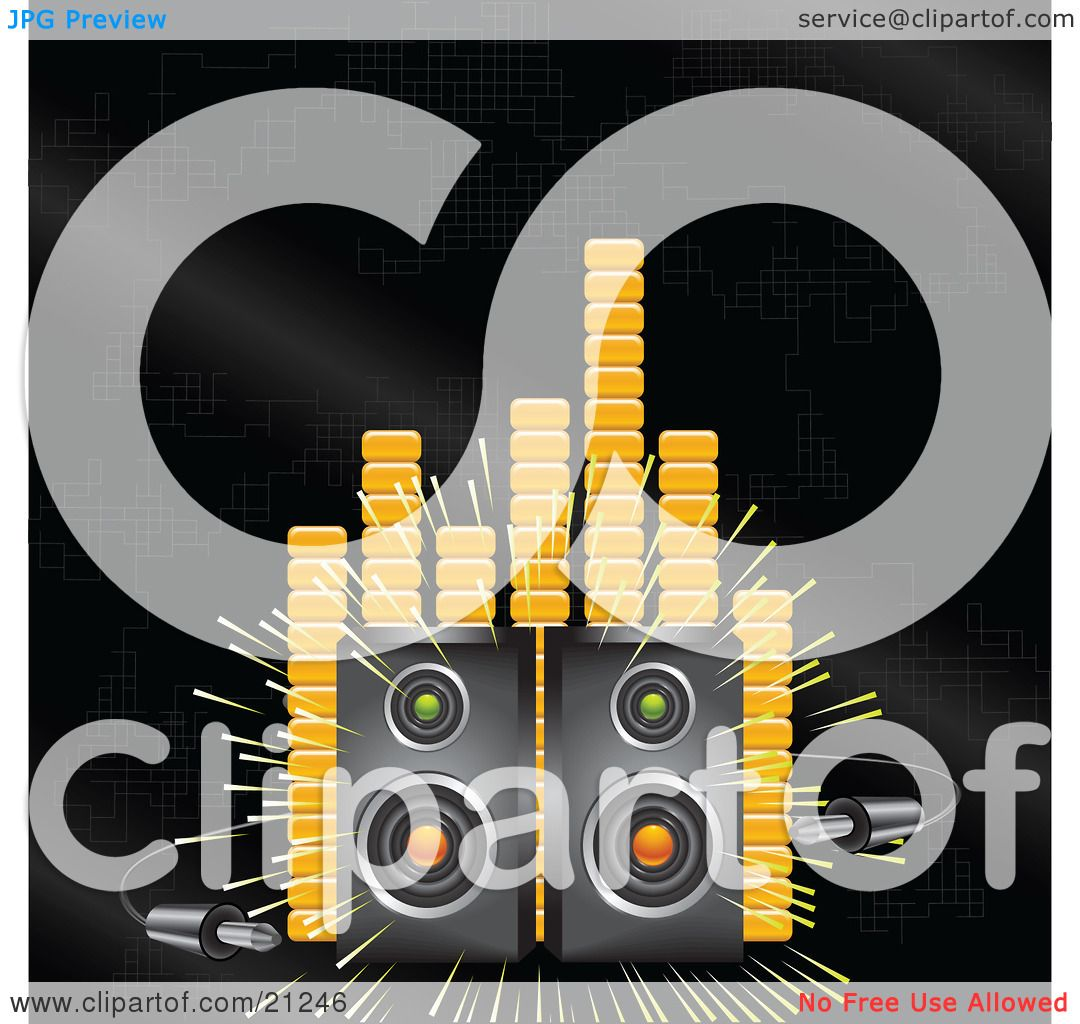 Clipart Illustration Of Two Loud Stereo Speakers Blaring