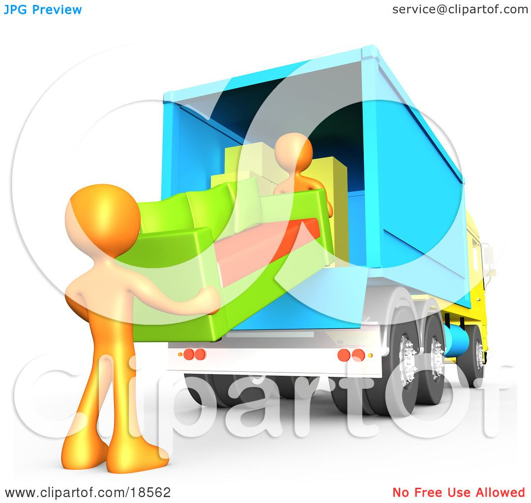Clipart Illustration Of Two Orange Male Figures Lifting And Loading A Green Living Room