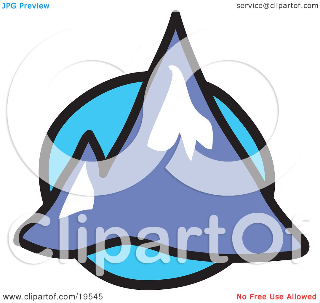 clipart illustration of two pointy mountain peaks over a blue circle rh clipartof com snowy mountain background clipart