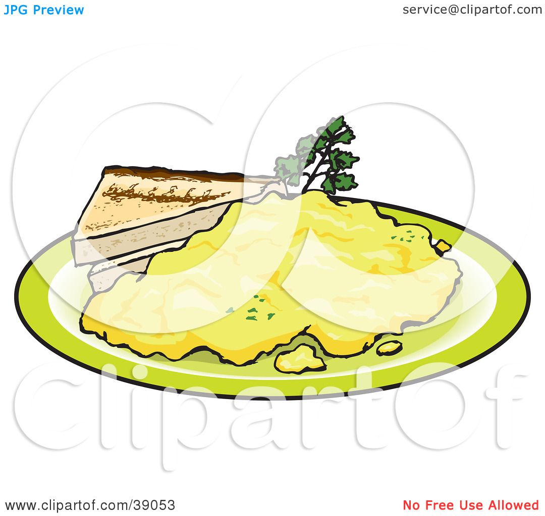Clipart Illustration Of Two Slices Toast Served With Scrambled Eggs By Dennis Holmes Designs