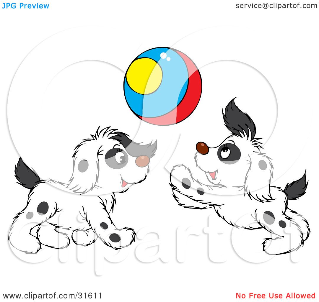 Clipart Illustration of Two Spotted Puppies Playing With A ...