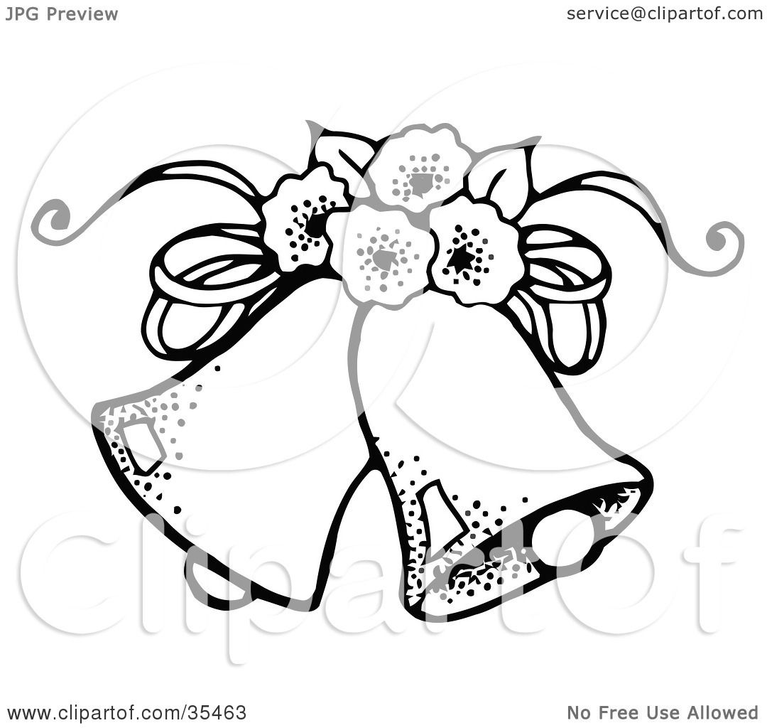 Wedding Bell Clipart: Clipart Illustration Of Two Wedding Bells With Flowers By