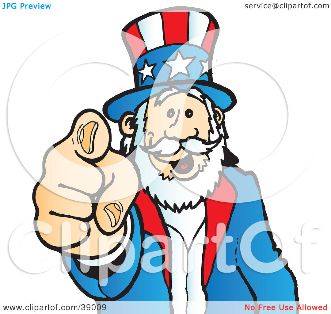clipart illustration of uncle sam grinning and pointing outwards by rh clipartof com Black and White Uncle Sam Original Uncle Sam