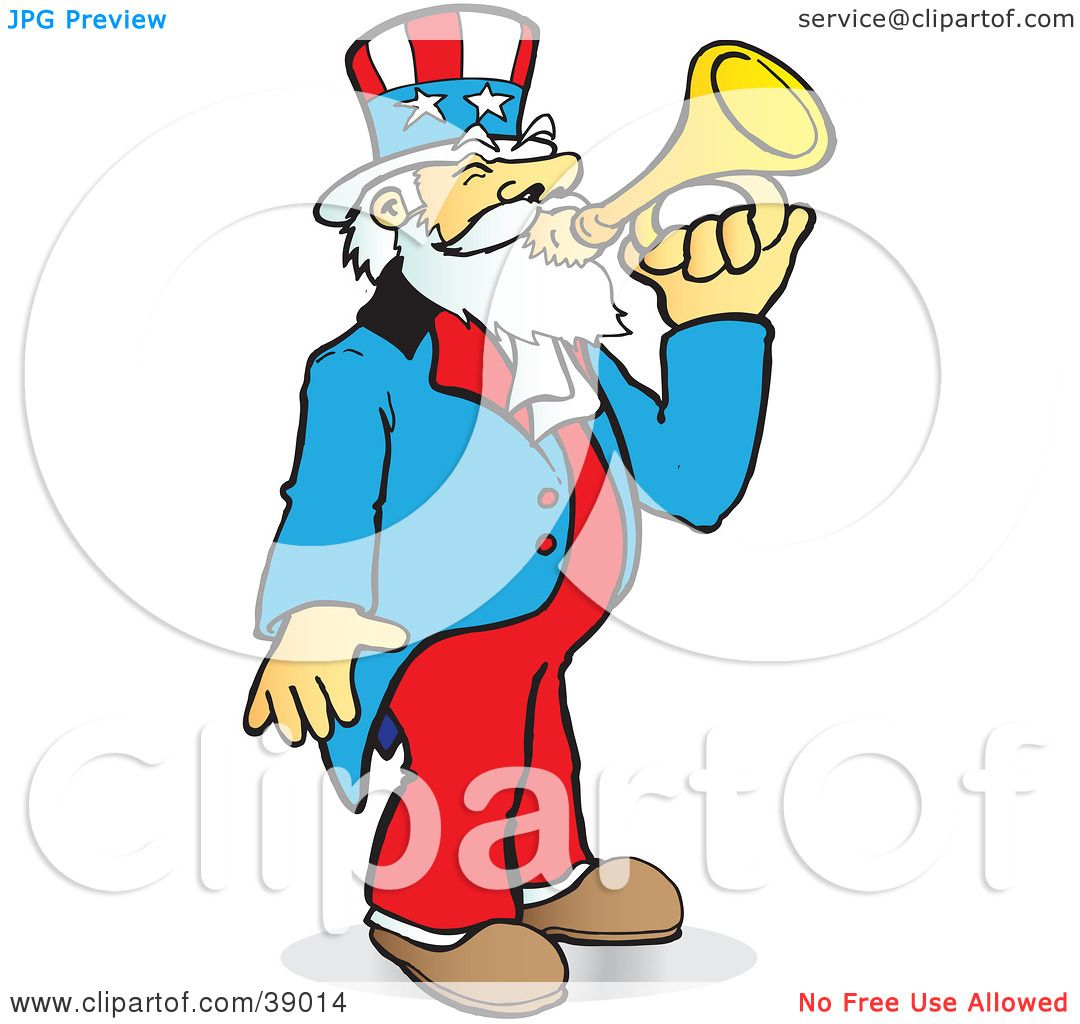 clipart illustration of uncle sam playing a bugle by snowy 39014 rh clipartof com Band Director Clip Art American Flag Clip Art