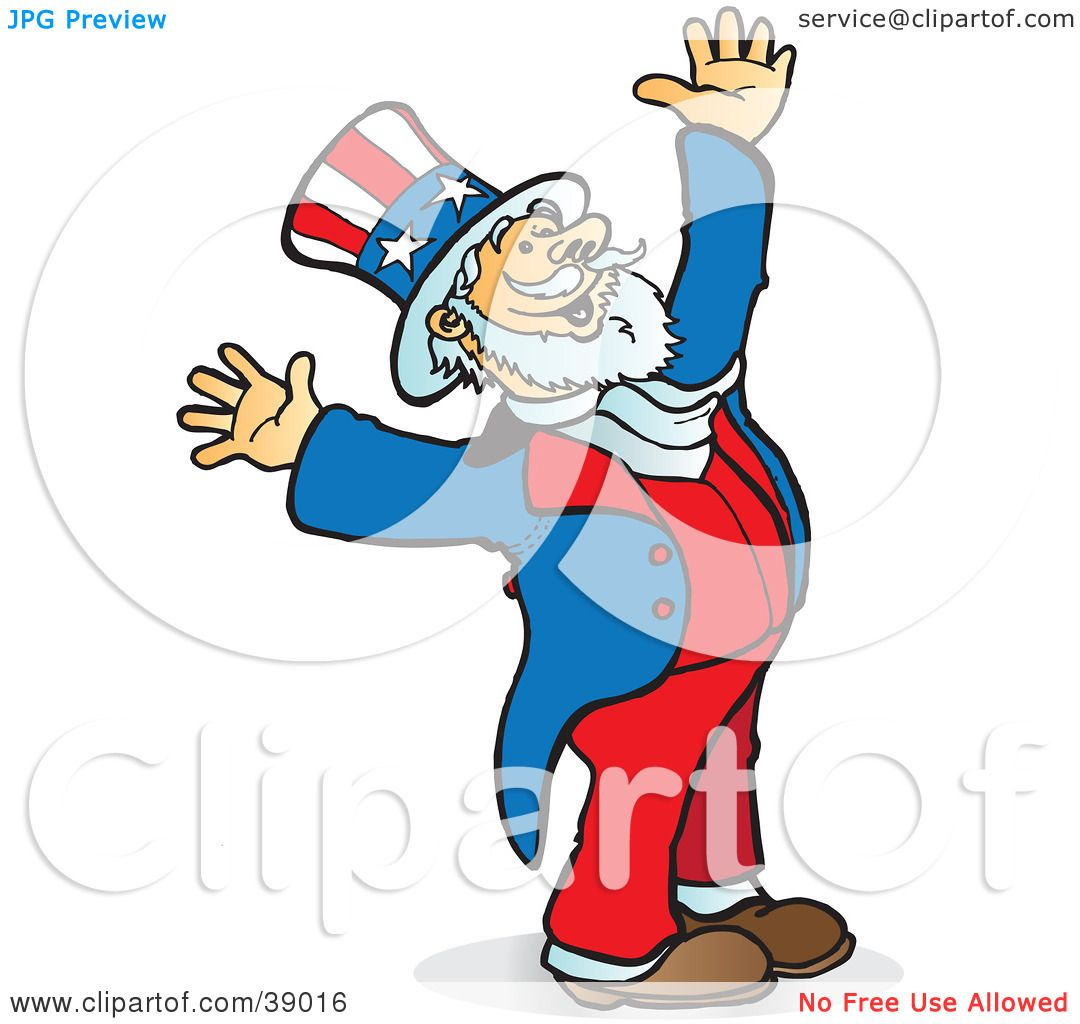 clipart illustration of uncle sam smiling looking upwards and rh clipartof com Uncle Sam Poster Bald Eagle Flag Clip Art