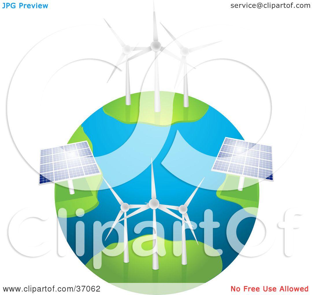 Clipart Illustration Of Wind Farm Turbines And Solar