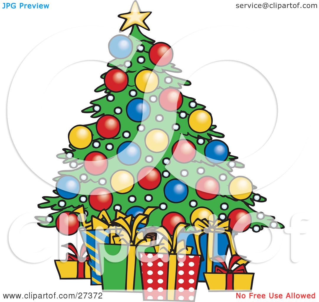Picture Of Christmas Tree With Presents: Clipart Illustration Of Wrapped Xmas Presents Resting