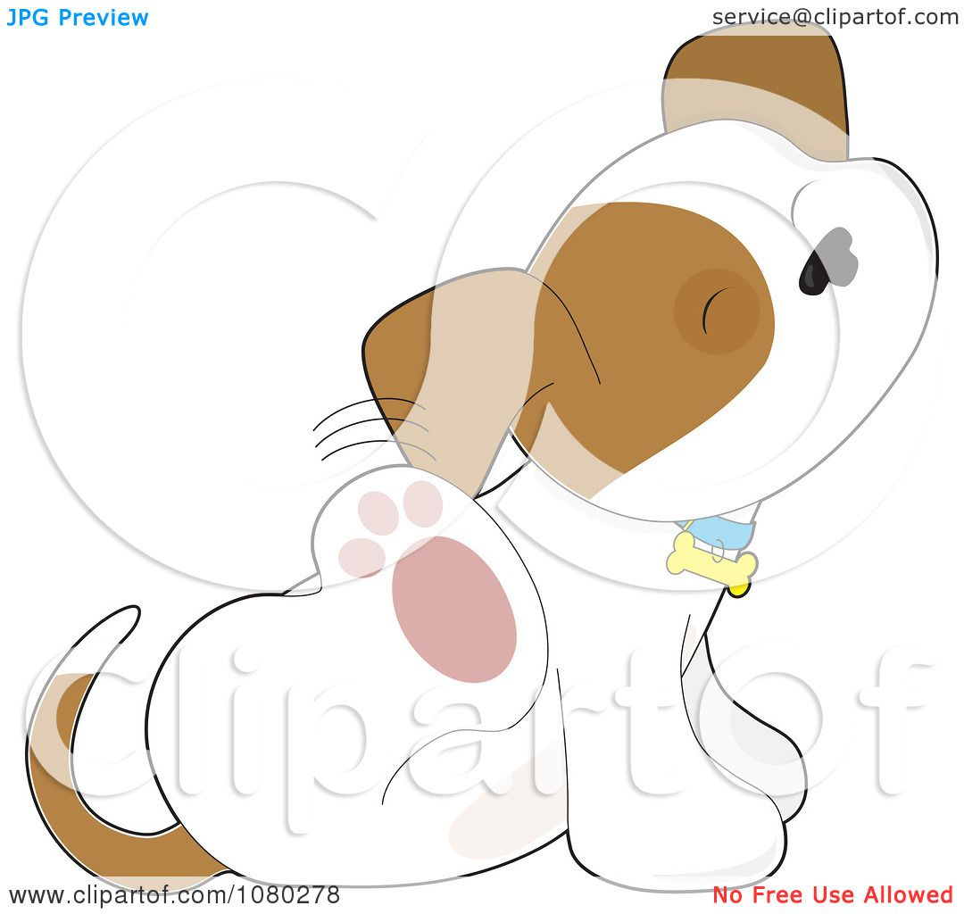 clipart itchy puppy scratching behind his ear royalty. Black Bedroom Furniture Sets. Home Design Ideas