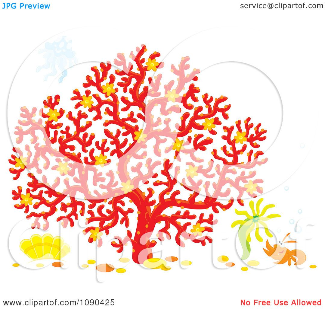 Clipart Jelly Fish Over A Red Coral Tree With An Anemone Flower And ...