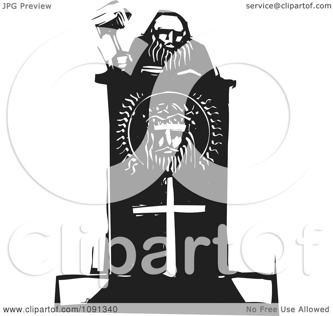 Clipart Judge Holding A Gavel At A Christian Podium Black And ...