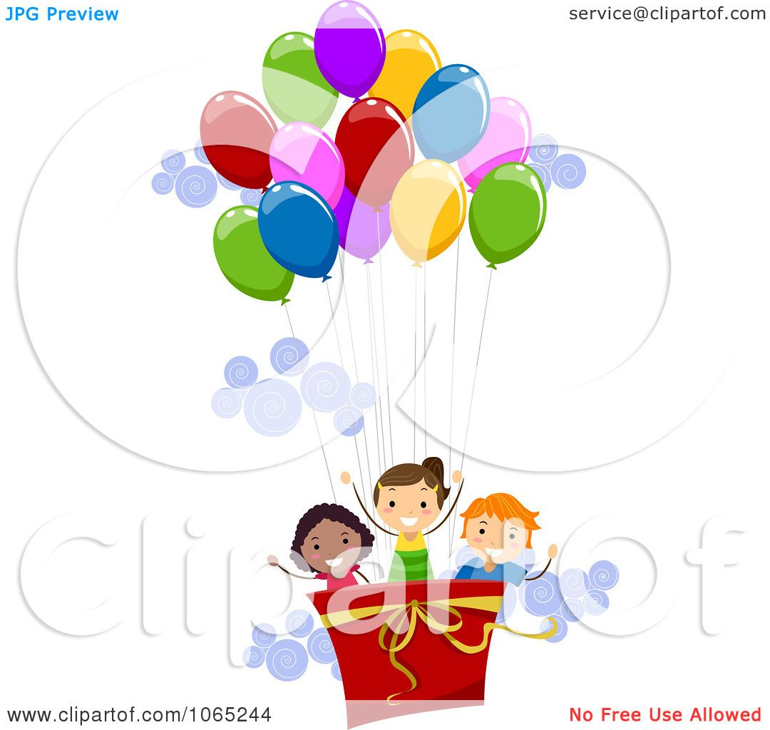 Clipart Kids In A Hot Air Balloon Royalty Free Vector