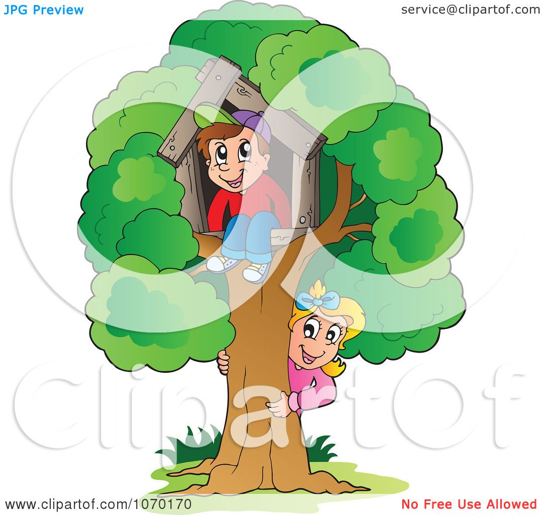 clipart kids playing at their tree house royalty free vector