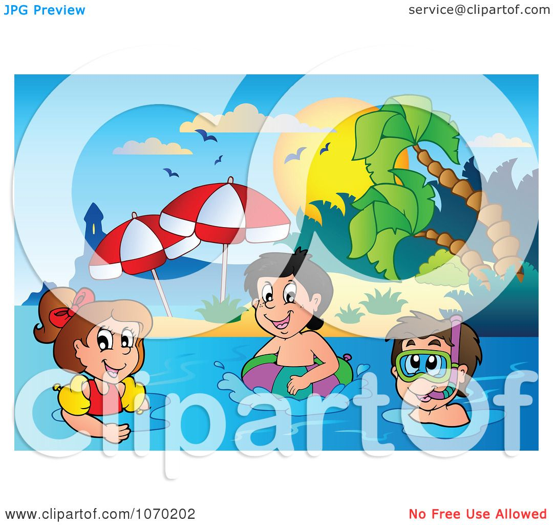 kids swimming at beach clipart. clipart kids swimming near a tropical beach royalty free vector illustration by visekart at o