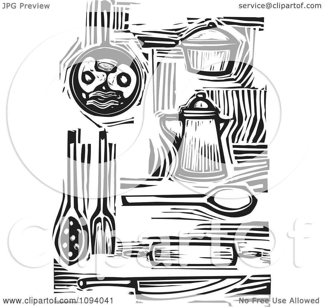 Clipart Kitchen Items And Food Black And White Woodcuts Royalty Free Vector Illustration By Xunantunich 1094041