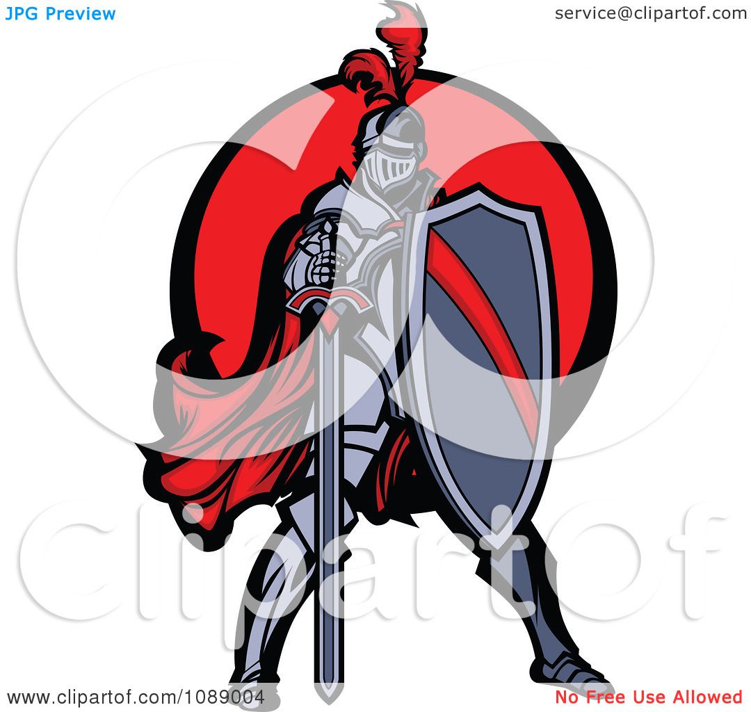 Clipart Knight Standing With A Shield And Sword Over A Red