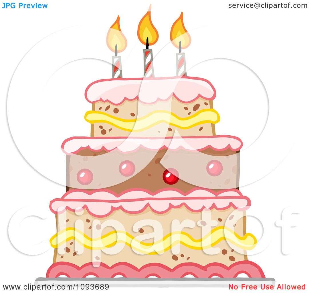 Royalty Free Birthday Images ~ Clipart layered birthday cake with three candles royalty free vector illustration by hit toon