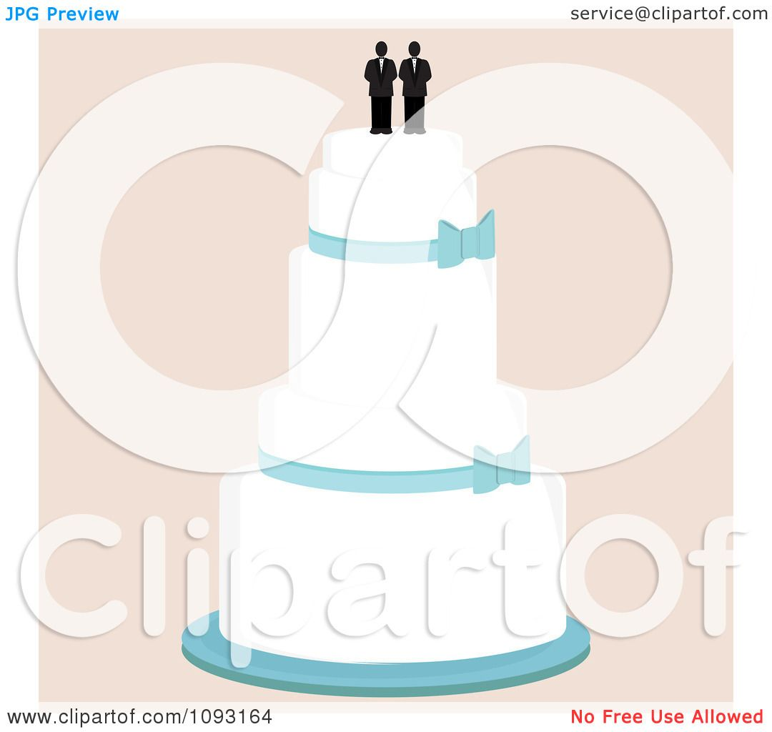 Clipart Layered Wedding Cake With A Gay Topper 1 - Royalty ...