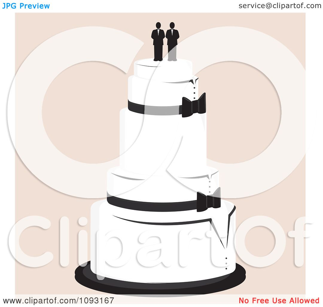 Clipart Layered Wedding Cake With A Gay Topper 2 - Royalty ...