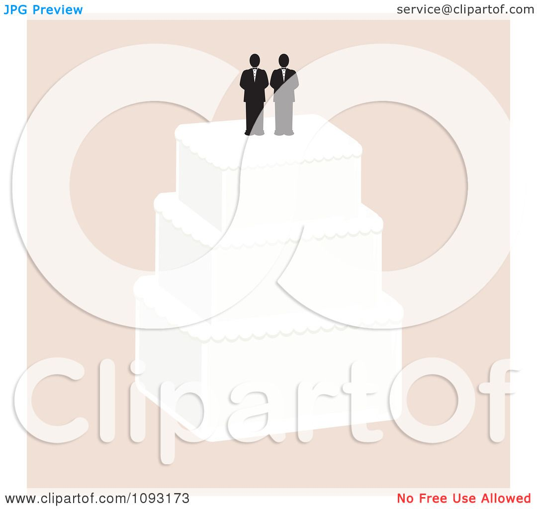 Clipart Layered Wedding Cake With A Gay Topper 3 - Royalty ...