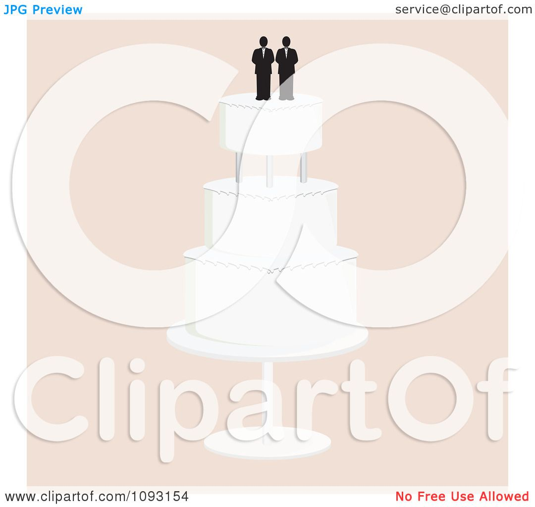 Clipart Layered Wedding Cake With A Gay Topper 4 - Royalty ...