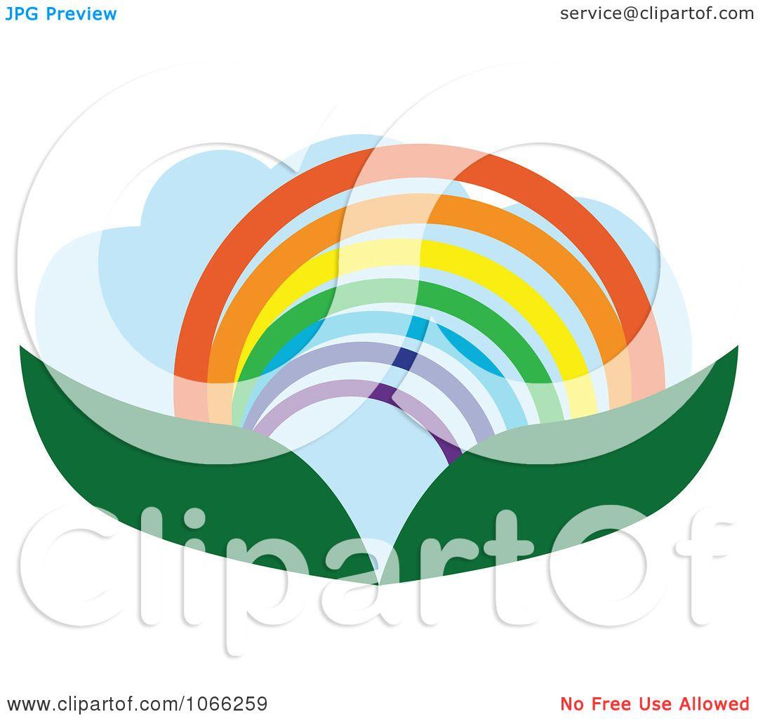 Landscape Illustration Vector Free: Clipart Leaf And Rainbow Landscape Logo
