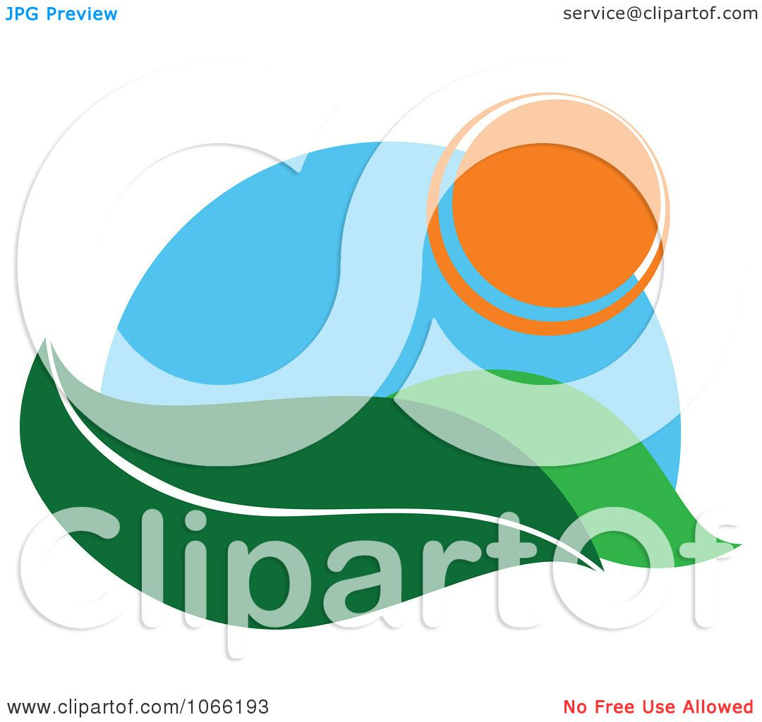 Landscape Illustration Vector Free: Clipart Leaf And Sun Landscape Logo 1