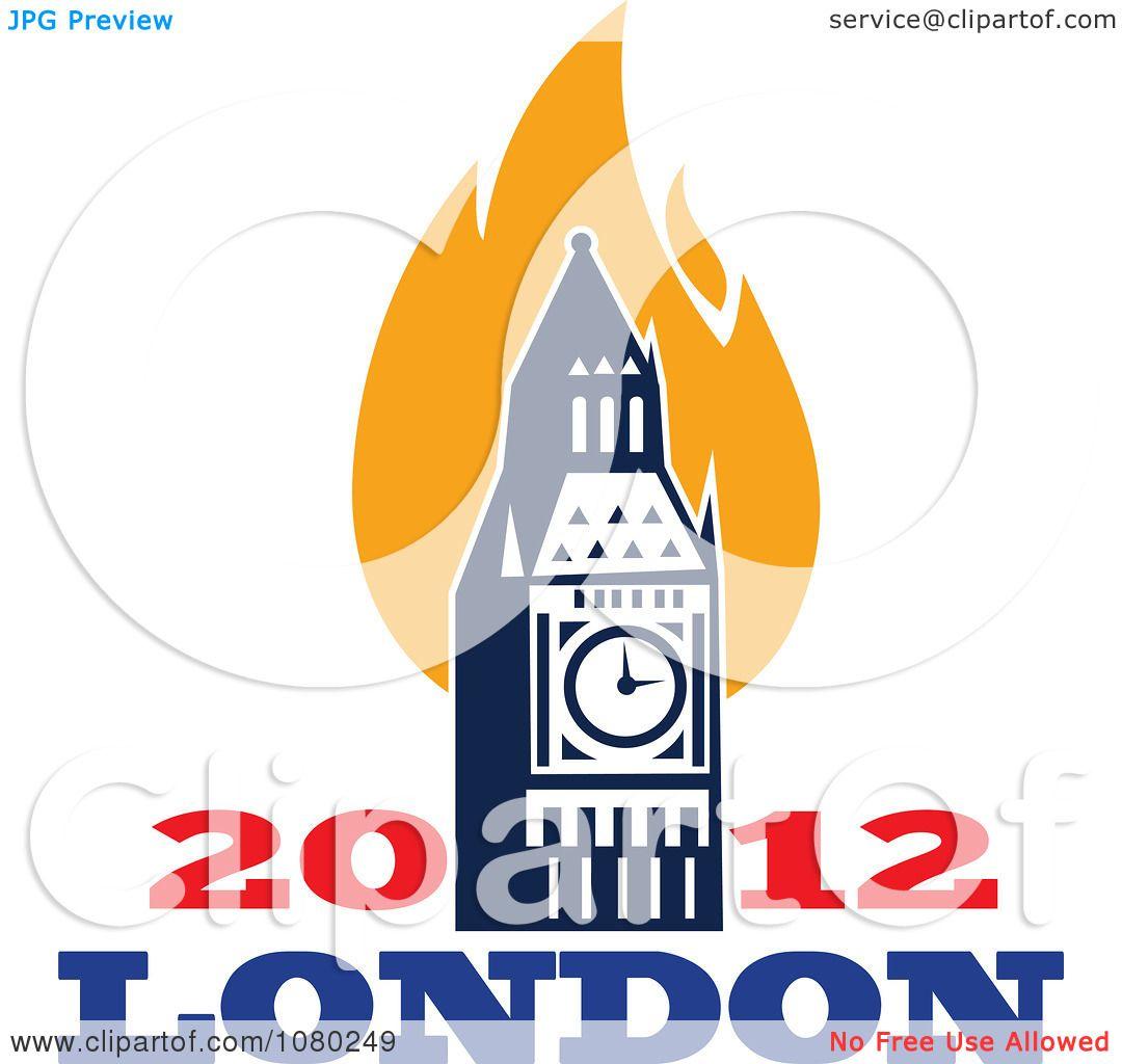 Clipart London 2012 Flames And Bit Ben Clock Tower ...