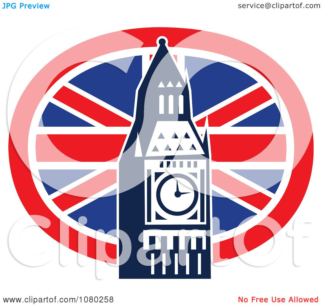 Clipart London Flag And Big Ben - Royalty Free Vector ...