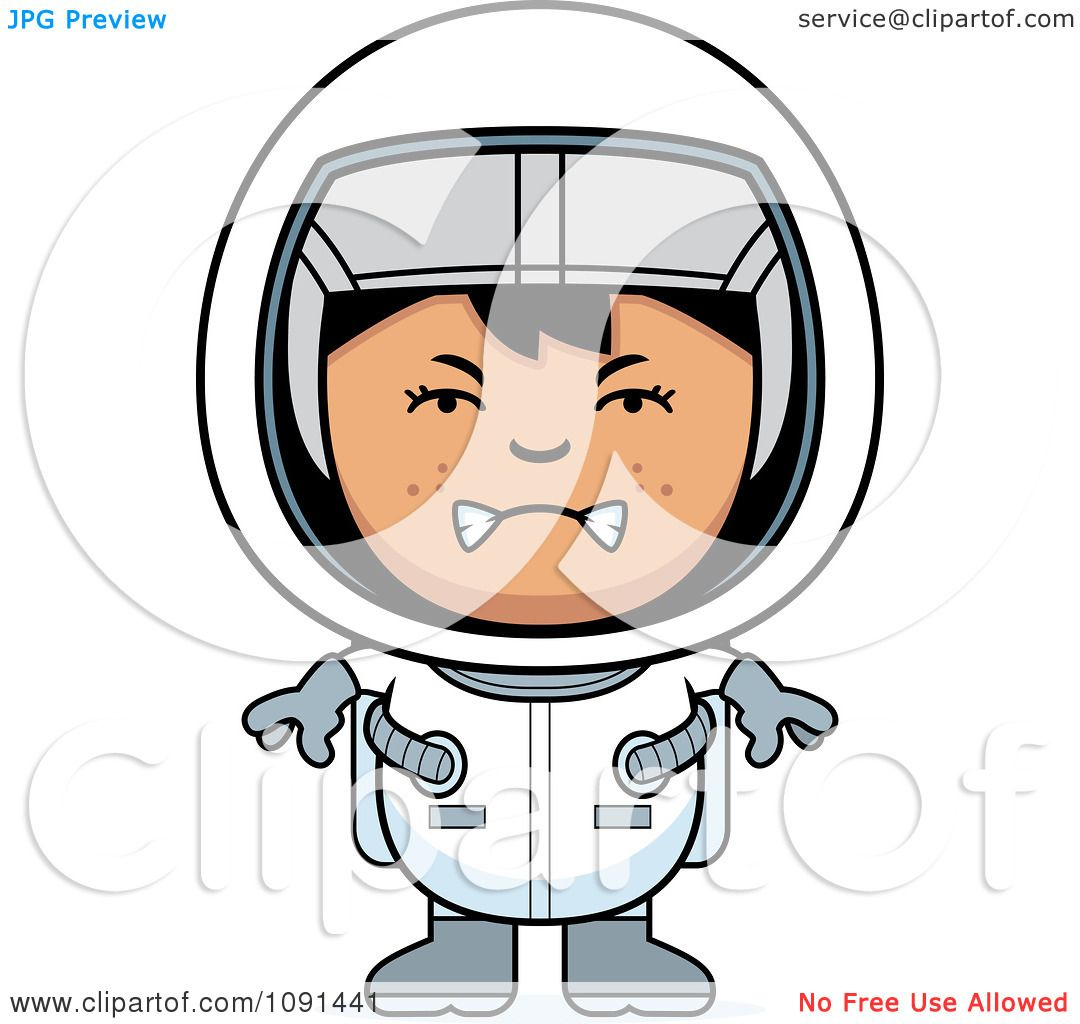 Clipart Mad Astronaut Girl - Royalty Free Vector ...