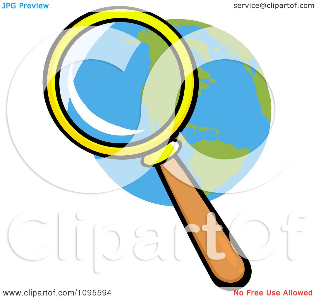 Clipart Magnifying Glass Zooming In On A Globe - Royalty ...