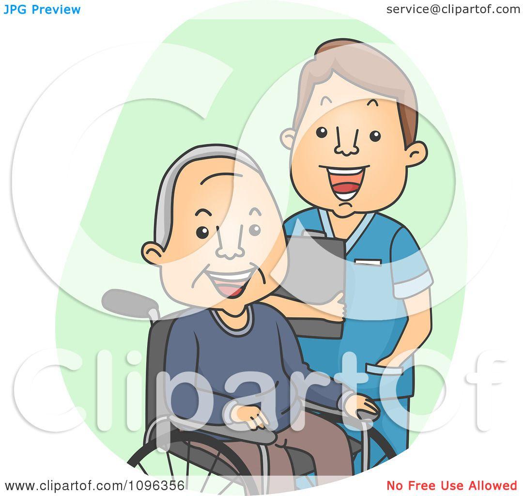 Clipart Male Geriatric Nurse Tending To A Senior Man ...