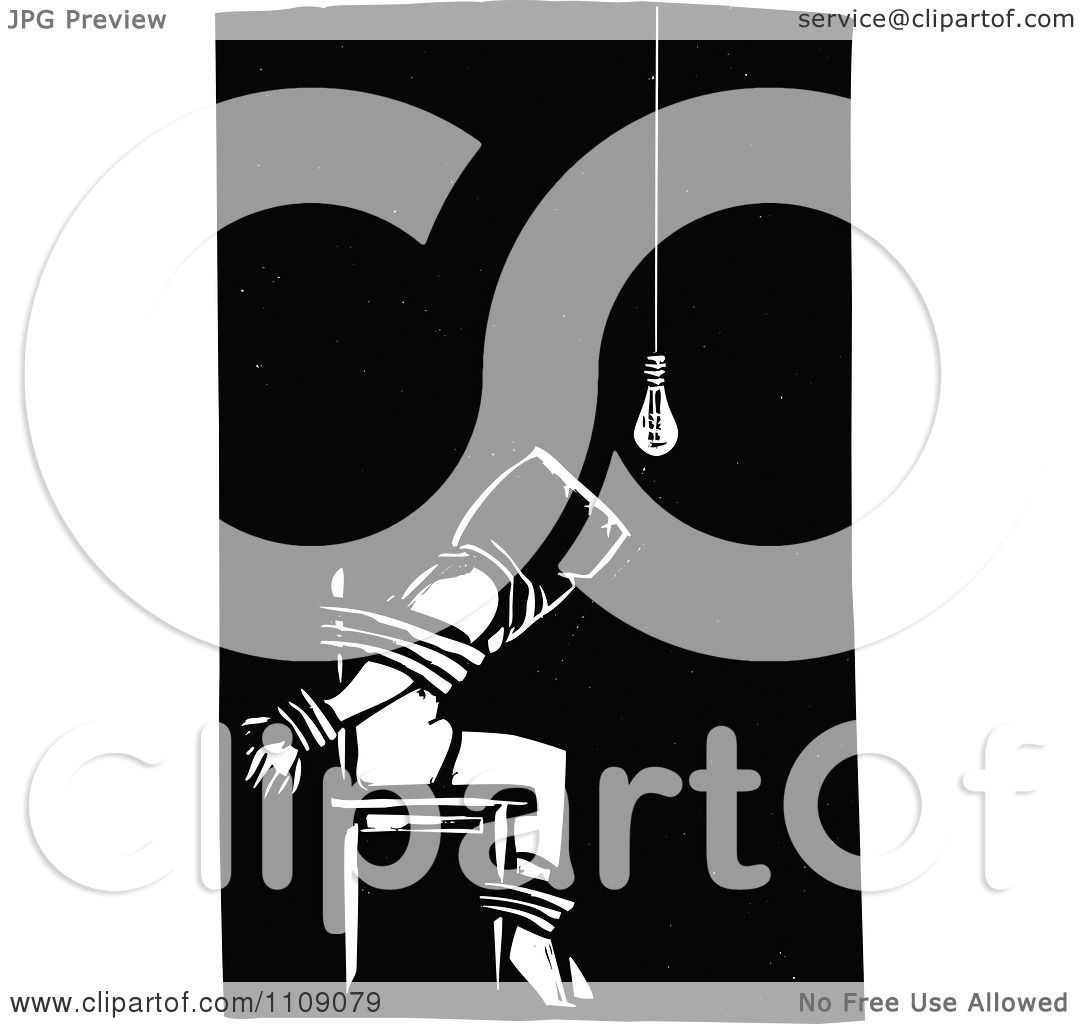 Clipart Man Being Tortured And Tied To A Chair Black And