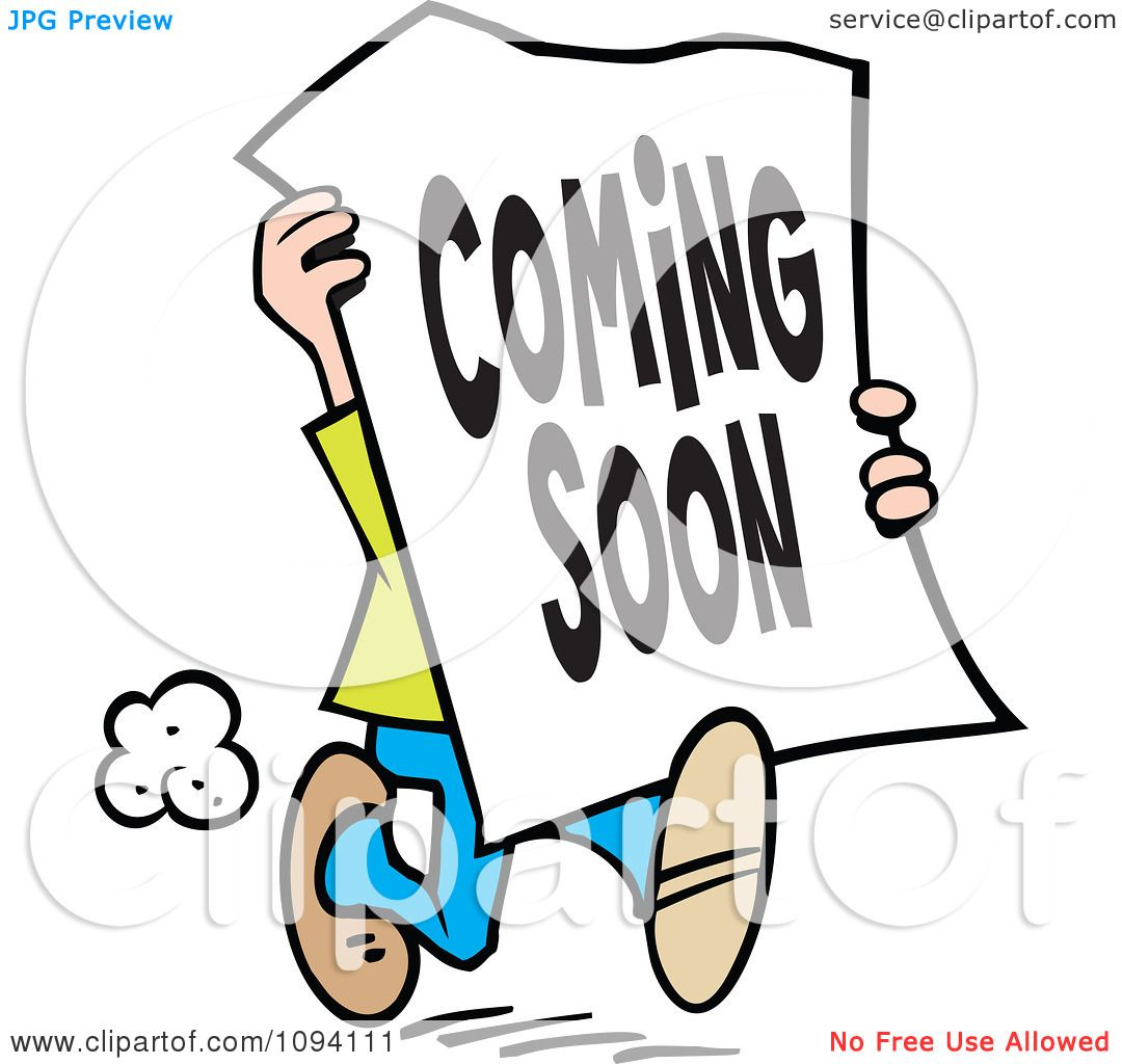 clipart man carrying a coming soon sign royalty free vector rh clipartof com