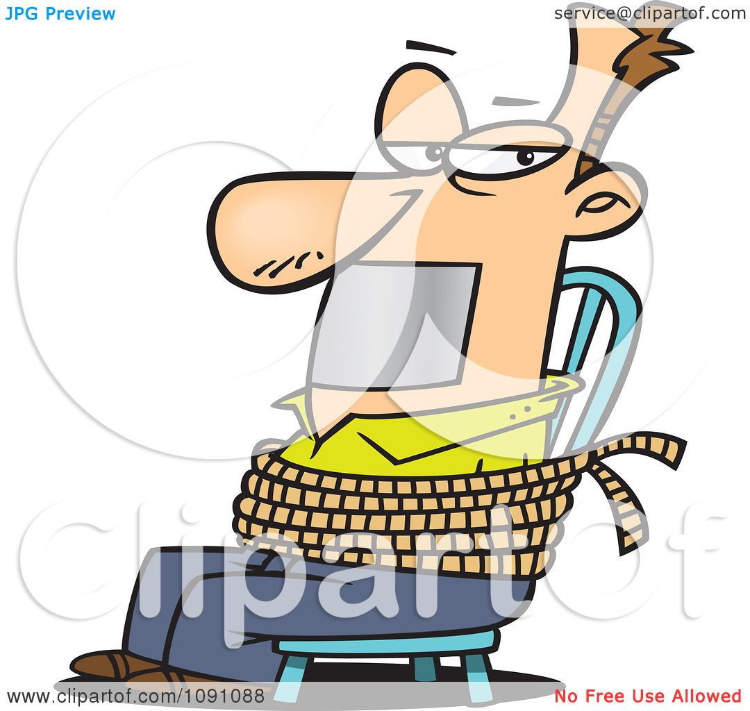 Gagged Animation clipart man gagged and tied to a chair - royalty free vector