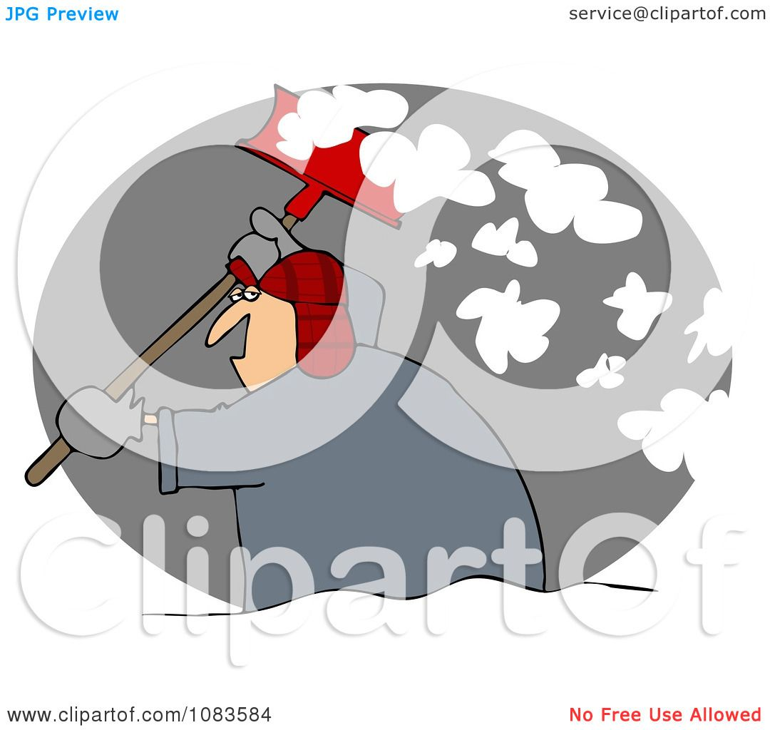 Clipart Man Shoveling Snow At Night - Royalty Free Illustration by ...