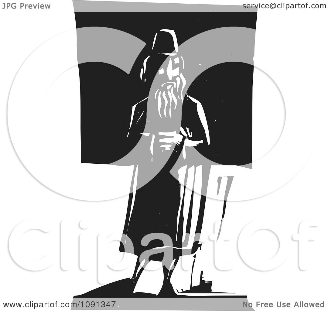 Clipart Man Standing Alone Black And White Woodcut ...