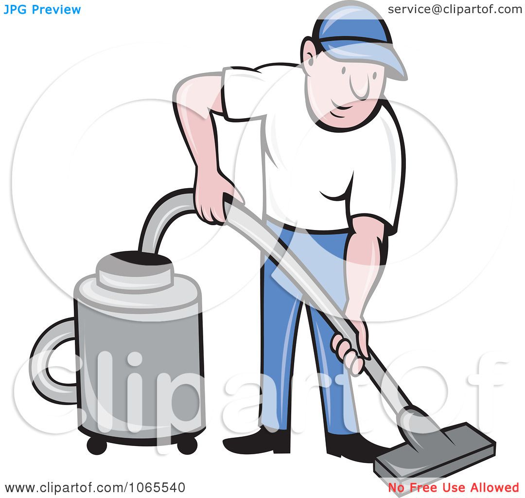 Vacuum cleaner clipart vacuum cleaner clip art - Clipart Man Using A Canister Vacuum Royalty Free Vector Illustration By Patrimonio