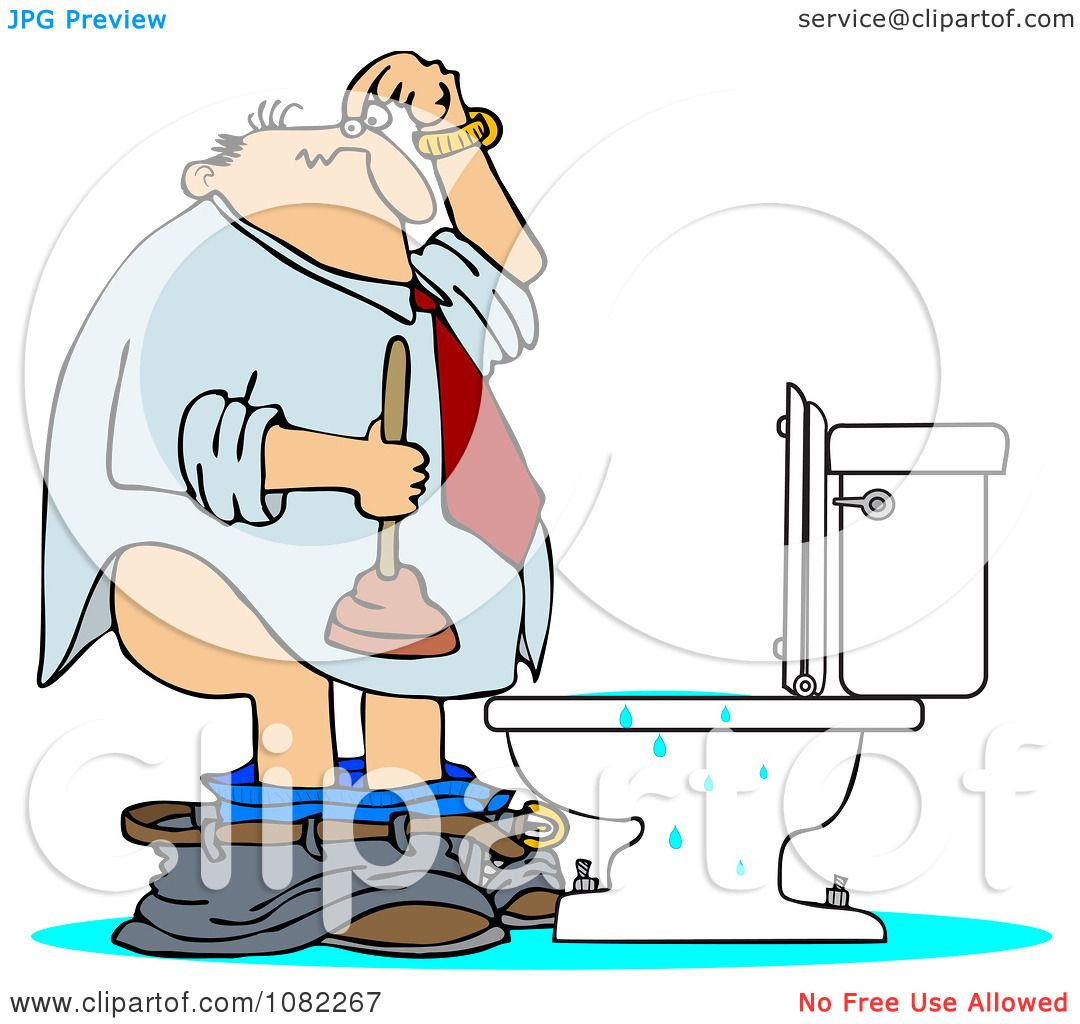 Clipart Man With A Plunger Over A Clogged Toilet - Royalty ...