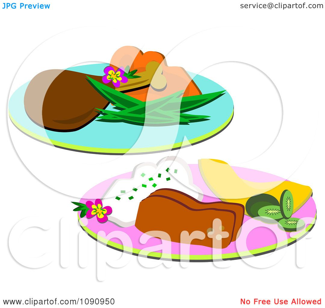 Clipart Meal Plates Of Meatloaf And A Chicken Drumstick - Royalty ...