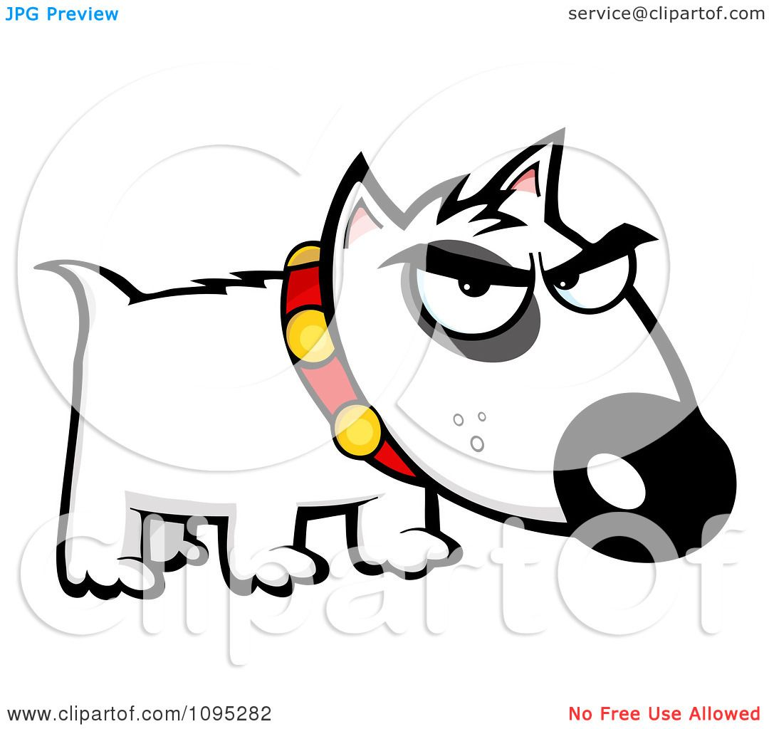 clipart mean white bull terrier dog royalty free vector rh clipartof com